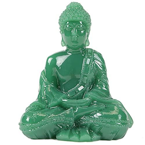Seyee-bro Meditative Seated Buddha Statue - Thai Sitting Buddha Figurine - Manmade Jade Praying Buddha Sculpture for Home Outdoor Decoration
