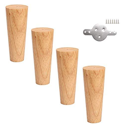 ZXL Meubelpoten van hout – bed en tafel en bank met wisselende poten van eiken – set verticaal/gekanteld, conisch, 4-delig