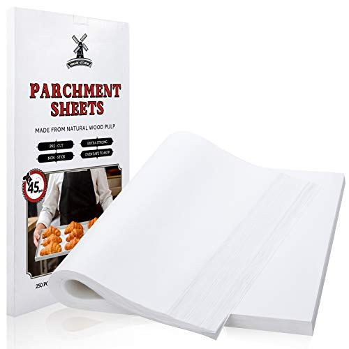 Hiware 250 Pcs Parchment Paper Sheets for Baking, 12 X 16 Inch, Fit for Half Sheet Pans, Precut Non-Stick Parchment Paper for Baking, Cooking, Grilling, Air Fryer and Steaming - 333 SQ.FT