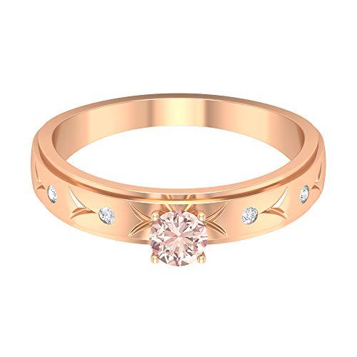 4 mm Lab erstellt Morganit Solitärring, HI-SI Diamant-Akzent-Ring, Gold stapelbares Band, 14K Roségold, Size:EU 57