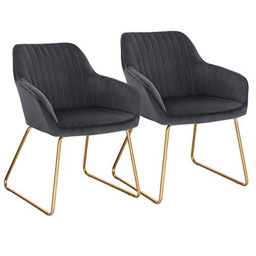 WOLTU Esszimmerstühle BH246dgr-2 2er Set Küchenstuhl Polsterstuhl Wohnzimmerstuhl Sessel mit Armlehne, Sitzfläche aus Samt, Gold Beine aus Metall, Dunkelgrau