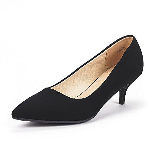 DREAM PAIRS Women's Moda Black Nubuck Low Heel D'Orsay Pointed Toe Pump Shoes Size 10 M US
