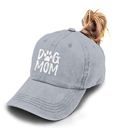 Splash Brothers Customized Unisex Dog Mom Vintage Jeans Adjustable Baseball Cap Cotton Denim Dad Hat (Ponytail Gray, One Size)