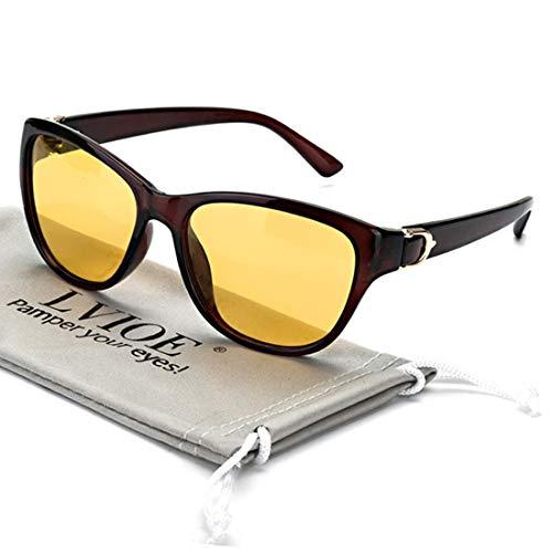 LVIOE Nachtsichtbrille mit polarisierten gelben Gläsern Anti Glare Womens Nachtsichtbrille für Regen/Nebel/Bewölkt 100{5b55b7af6dc687e41e6798e617e0ef0664e85bfc8fcbf3288ad7920a95cb1632} UV-Schutz (Brauner Rahmen/Gelb)