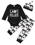 Neugeborenes Baby Mädchen Kleidungsset Baby Strampler + Hosen Hut Säugling Wolf Tierdruck Outfit Set