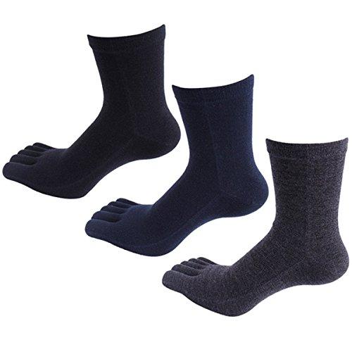Panegy – 3 Paires de Chaussettes Cinq Doigts De Pieds Pour Homme en Coton Confortable et Respiration – Chaussettes à Motif – Uni – Noir/Bleu/Gris tail