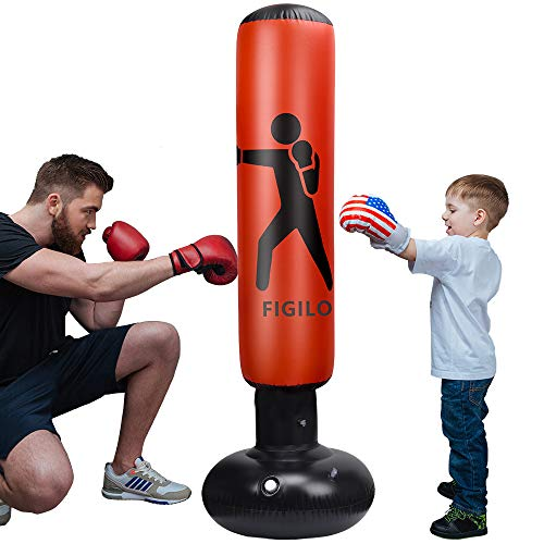 Inflatable Punching Bag for Kids, 63Inch Punching Bag Freestanding Boxing Bag Heavy Punching Bag, for Practicing Karate, Taekwondo, MMA, Decompression Fitness Kick Training (Air Pump Included)