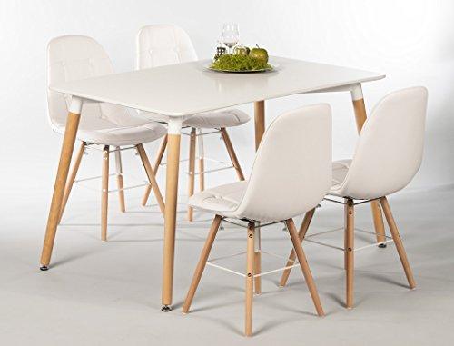 expendio Tischgruppe Esstisch Ilka weiß + 4 Stühle Tobias weiß Essgruppe Esszimmer Speisezimmer Wohnzimmer Küche