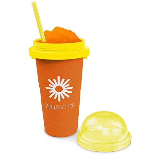 Magic Freez Chillfactor Slush Ice Becher mit Strohhalmlöffel | Eisbecher Glas Alternative für EIS selber Machen | Slush Ice Maker
