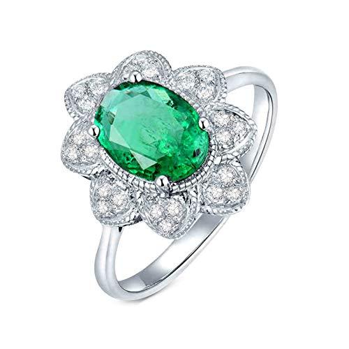 Daesar Anillos Oro Blanco Mujer 18K,Flor Oval Esmeralda Verde 1.15ct Diamante 0.14ct,Plata Verde Talla 22