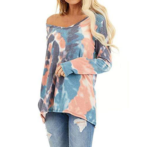 Yczx Women Tshirts Long Sleeve Casual Loose Tops Tie Tye Printed Fashionable Sweatshirts Off Shoulder Sexy Modern Chic T-Shirt Blouse Outdoor Sporty Sweatshirts Shirt XL