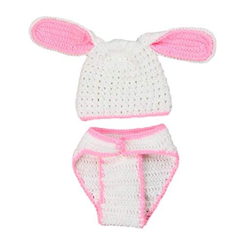 Amosfun pasgeboren baby fotografie rekwisieten grote oren konijn haak gebreide foto outfits hoed luier kostuum (inkt en wit)