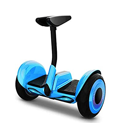 YLCJ 10-inch Smart Hoverboard with Foot Pole/Hand Lever, Self-Balacing Electric Scooter for Adults and Kids, Automatic Balancing Car, Bluetooth/LED Lights/Load 120KG-blue_B