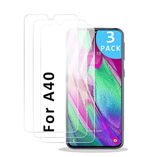 AdoN Panzerglas Schutzfolie für Samsung Galaxy A40,[3 Stück] Galaxy A40 Panzerglas,[Blasenfrei][Anti-Fingerabdruck],Displayschutzfolie für Samsung Galaxy A40