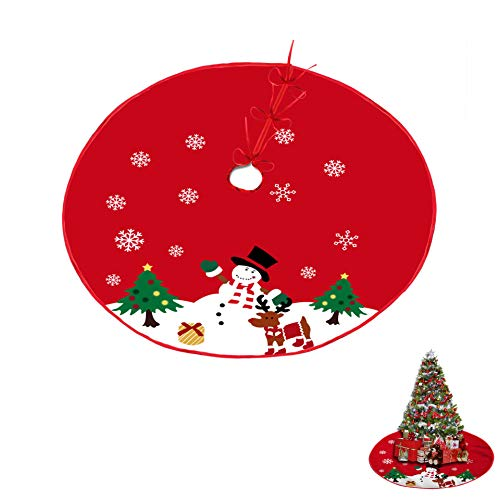 Conpru 48 inch Christmas Tree Skirt, Xmas Tree Skirt for Christmas Decorations Indoor Outdoor Holiday Party (Red)