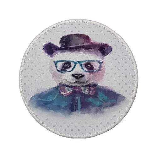 Rutschfreies Gummi-Rundmaus-Pad lustiger Vintage-Hipster-Panda mit Fliege Dickie Hat Horn Brille im Aquarellstil Schwarzblau 7.9