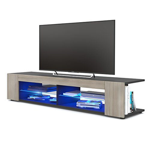 TV Board Lowboard Movie, Korpus in Schwarz matt/Fronten in Avola-Champagner inkl. LED Beleuchtung in Blau