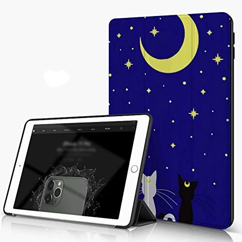 Funda para iPad 9.7 para iPad Pro 9.7 Pulgadas 2016,Gatos Dos gatitos sentados mirando la estrella y la luna bajo el cielo azul La felic,incluye soporte magnético y funda para dormir/despertar