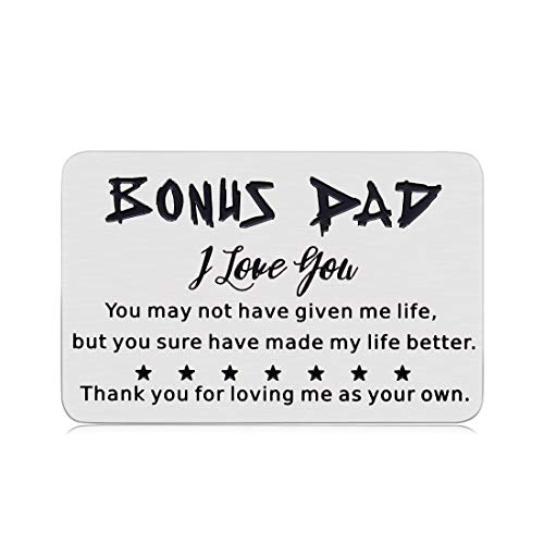 Bonus Dad Gifts, Stepdad Gifts Wallet Insert Card for Dad Daddy Father's Day Gifts from Daughter Son Kids Step Dad Papa Birthday Presents Father in Law Gift for Men Him Valentines Day Wedding (Silver)
