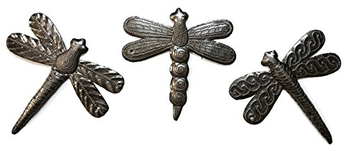 Set of 3 Small Garden Dragonflies 6 Inches, Decorative Wall Hanging Art, Indoor Outdoor, Spring Decorations, Handmade in Haiti from Recycled Steel Barrels