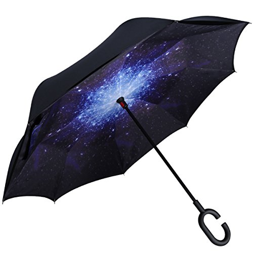 G4Free Windproof Upside Down Double Layer Inverted Reverse Umbrella UV Protection for Women