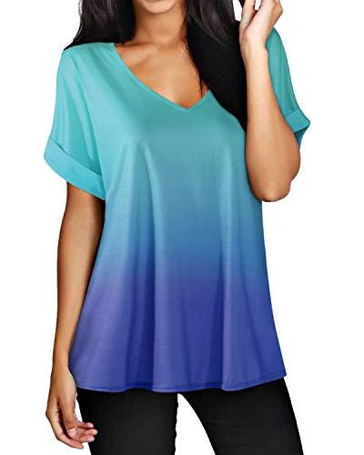 ZANZEA Camisetas Mujer Manga Corta Holgada Top Tallas Grandes Baratas Cuello V Casual Blusa Suelta T Shirt 02-Azul XXL