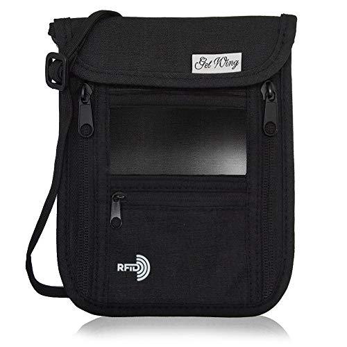 GetWing パスポートケース 首下げ スキミング防止 セキュリティポーチ パスポートカバー 軽量コンパクト 7ポケット