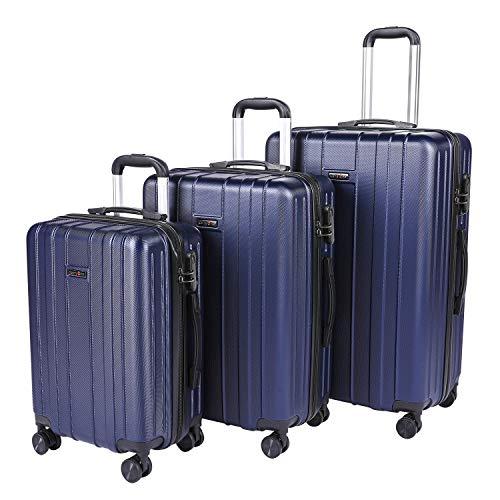 CarryOne Valigie Set Trolley Bagaglio a Mano con 4 Rotelle Girevole, Valigia Rigida da Viaggio Set da 3(55cm, 64cm, 74cm)(blu)