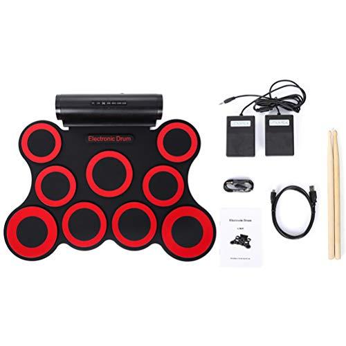 NINI 9-Pad electrónica Plegable de Silicona Grupo de percusión batería electrónica Rueda para Arriba el Tambor,Rojo