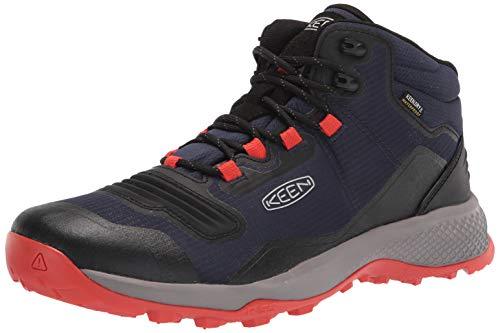 KEEN Men's Tempo Flex Mid Height Lightweight Waterproof Hiking Boot, Black Iris/Orange, 11