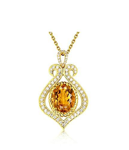ButiRest Colgante de oro amarillo de 18 quilates, 2,69 quilates, corte ovalado con diamante de 18 quilates, oro amarillo 750, forma de botella, para mujer