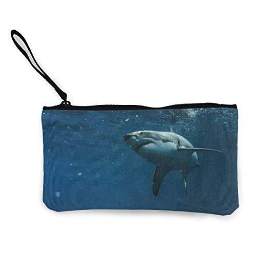 Unisex Brieftasche, Münztaschen, Leinwand Geldbörse Ocean Sea Riesiger Hai Zoll Reißverschluss Tasche Brieftasche für Cash Bank Car Passport