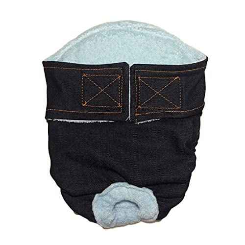 Barkerwear Cat Diapers - Made in USA - Denim Waterproof Premium Cat Diaper for Piddling, Spraying or Incontinent Cats