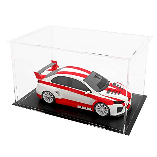 LANSCOERY Clear Acrylic Display Case Assemble Countertop Box Cube Organizer Stand Dustproof Protection Showcase for Action Figures Toys Collectibles (12x4x4 inch; 30x10x10 cm)