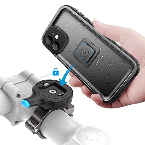 SOKUSIN Soporte para Teléfono Bicicleta Metal,Titular Caja de Bicicleta Bicicleta Impermeable para iPhone 11,Aluminio Release Bike Mount,Soporte para Manillar de Motocicleta (para iPhone 11)