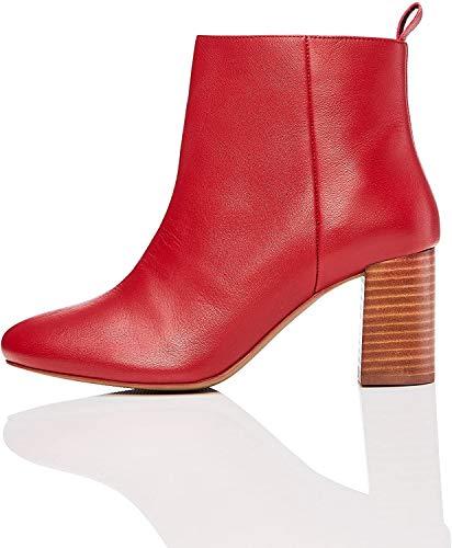 find. Botín de Tacón Cuadrado Mujer, Rojo (Red Red), 39 EU