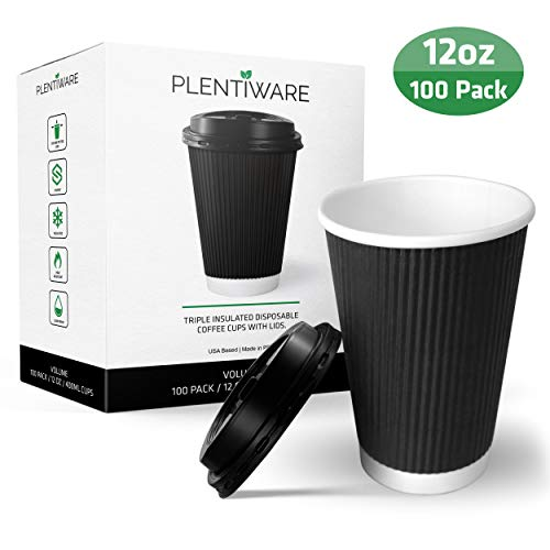 Coffee Cups with Lids | Disposable Insulated To Go Paper Coffee Cups for hot beverages | 12 oz perfect for cafe and bulk | 100 Pack – Black by Plentiware