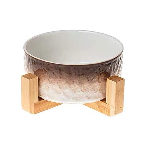 BigMeow 猫犬食器 陶器 大容量 850ML ペットボウル フードボウル 水飲みボウル 猫犬用 (北欧茶色)