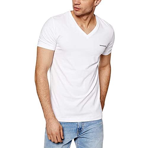 Calvin Klein Jeans Micro CK Slim Stretch V Neck Tee T-Shirt, Bianco Brillante, L Uomo