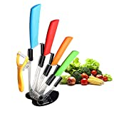 Ceramic Knife Set,Five Piece 6' Chef Knife, 5' Utility Knife, 4' Fruit Knife, 3' Paring Knife, 1'' Vegetable Fruit Peeler, Rust Proof And Stain Resistant, Kitchen Chef Knife Sharp Set (Colorful)