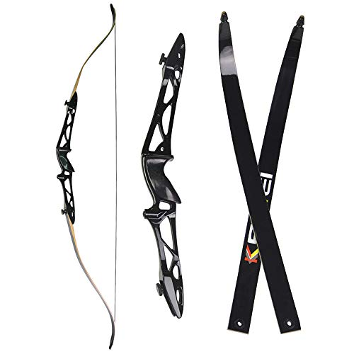 """NMCPY 12lbs-40lbs Archery Takedown Recurve Bow 66"""" 68"""" 70"""" Traditional Long Bow Hunting Metal Riser Right Hand for Adults Youth Practice Target Shooting (70"""" Black, 40lbs)"""