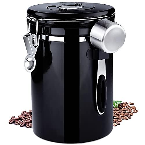 Frasheng Kaffeedose Edelstahl,Kaffeedose Luftdicht mit Edelstahl Löffel,750g/1,8L Kaffeebehälter,Vakuum Kaffee Dose mit Datumsverfolgung für Kaffeebohnen Kaffeepulver Kaffeebehälter,Schwarz