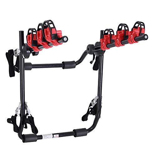 homcom Portabici Posteriore per Auto capacità 3 Biciclette 40 kg Pieghevole in Acciaio e Alluminio, 68x52x60 cm