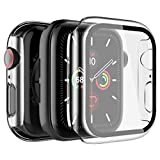 LK [2 Pack] Case for Apple Watch 40mm SE/Series 6/5/4, [Model No. LK3356], Built-in Tempered Glass Screen Protector, Hard PC Protector Cover for iWatch 40mm (Clear)