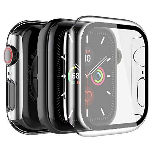 LK Custodia Compatibile per Apple Watch 42mm Series 3/2/1 Pellicola Protettiva, [2 Pezzi] [HD Clear] Cover Rigida Vetro Temperato per iWatch 42mm Series 3/2/1 - Trasparente