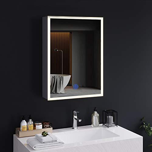 DICTAC spiegelschrank Bad mit LED-Beleuchtung und Steckdose 72x13.5x50cm Metall badspiegel mit 3 Farbtemperatur dimmbare mit Beleuchtung Berührung Sensorschalter,Hängeschrank,badschrank mit Spiegel