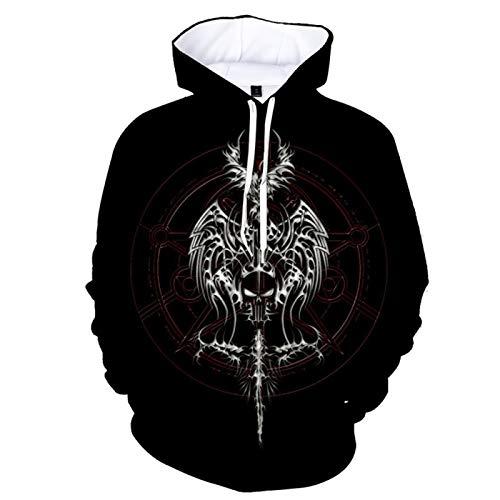 qishi - Suéter de manga larga con capucha para hombre, estampado en 3D, color oscuro
