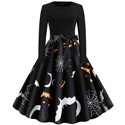 Calvinbi Elegante Kleider Schwarz Vintage Kleid Damen Retro Herbst Winter Kleid Schleifen Knielang Langarm Abendkleider Swing Kleid Große Größen XXL fur Halloween Party Ball Karneval Kostüme