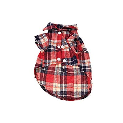 1 Pc Fashion Dog Red Plaid Shirt Pet Outfits Pet Clothes for Small Dogs Cats Product size m, suitable for Siamese cat?British shorthair?Sphynx? Puppy Springer, Puppy Rottweiler?Dachshund