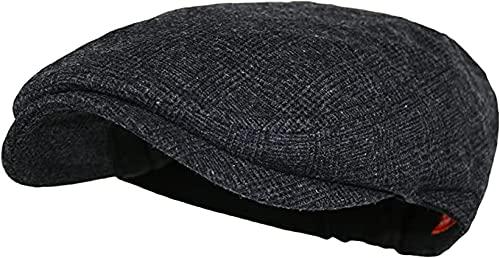 DAIDEM   Men's Plaid Wool Tweed Newsboy Ivy Hat (Charcoal, Large/Extra Large, l)